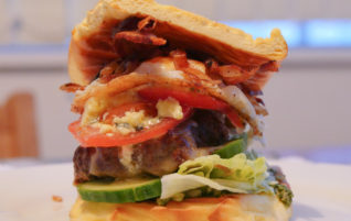 Bacon, Blue Cheese & Caramelised Onion Burger